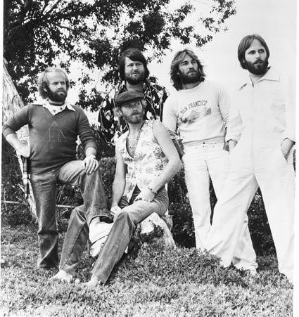 Beach Boys in later years with Mike Love (seated) and Al Jardine, Brian Wilson, Dennis Wilson and Carl Wilson