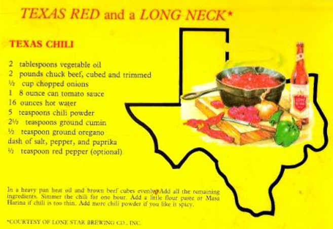 Texas Chile and A Lone Star   Chile Recipe Lone Star Brewing   TX     Postcard